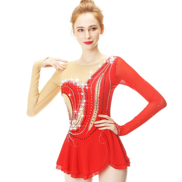 Red Figure Skating Dress Women's Girls' Ice Skating Dress Competitive performance clothingRound neck long sleeve Stretch fabrics