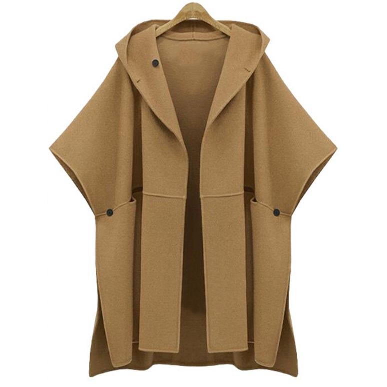 2017 Spring new large size ladies loose woolen trench hooded bat sleeve cape woolen font b