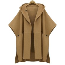 2017 Spring new large size ladies loose woolen trench hooded bat sleeve cape woolen jacket