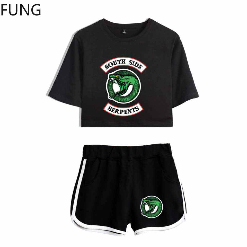 FUNG Riverdale Southside Serpents 2 piece Set Women New Top and Shorts Set Summer Outfits Track Suit Riverdale Women Clothing