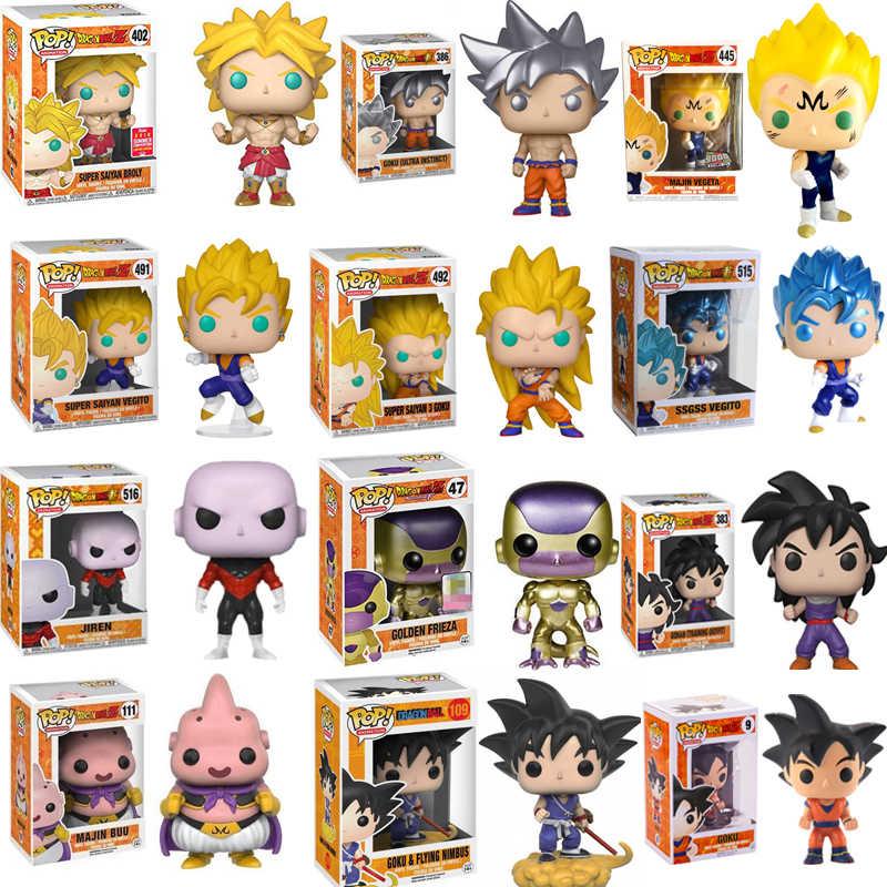 FUNKO POP Anime Dragon Ball MAJIN VEGETA SUPER SAIYAN BROLY GOKU VEGITO 3 Vinil Figura de Ação Brinquedos Para As Crianças de Natal presente