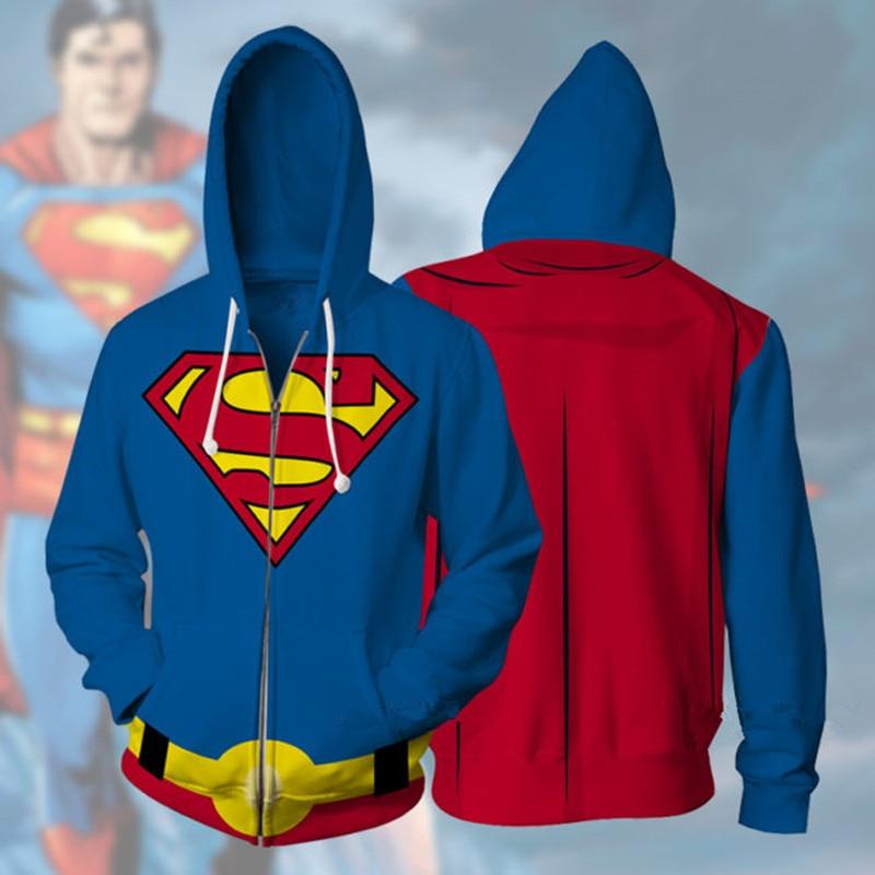 2019 Superhero Sweatshirts Cosplay Superman Costumes Autumn men women Superman 3D Printing fashion zipper Hooded sweater Jackets