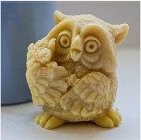 DIY Venda quente coruja 3D em forma de silicone molde sabão fondant Bolo decoração molde sabão Handmade