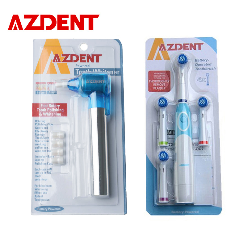 AZDENT Electric Toothbrush with 4 Brush Heads Sets + Blue Teeth Burnisher Polisher Whitener Stain Remover Battery Operated топ спортивный nike nike ni464ewdrs50