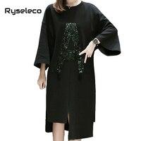 Brand New Women Ultra Big Large Black Irregular Hem A Letter Sequined Tunic Dresses Autumn Winter