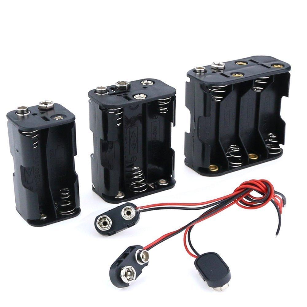 EziUsin 6pcs/lot 4/6/8 X 1.5V AA Battery Holder With Standard Snap Connector 4 6 8 AA 4AA 6AA 8AA