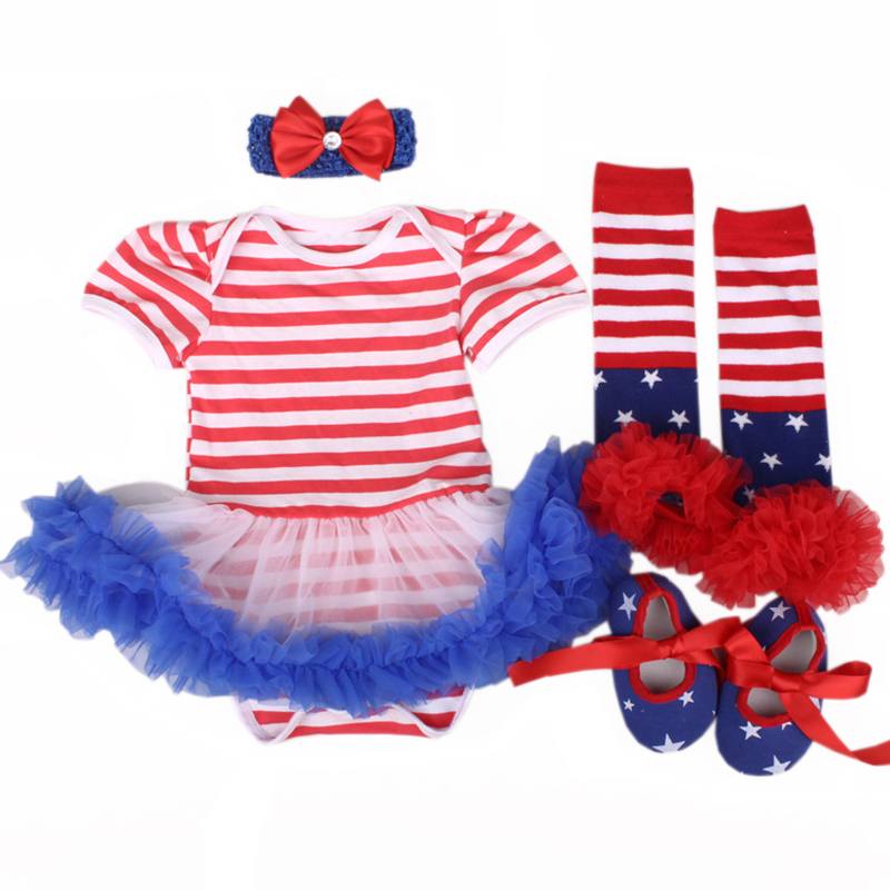 New Baby Girl Outfits Set Red Blue Striped Romper Dress for 4TH of July Bebe Tutu Dresses Kids Girls boutique Star Clothes Suits