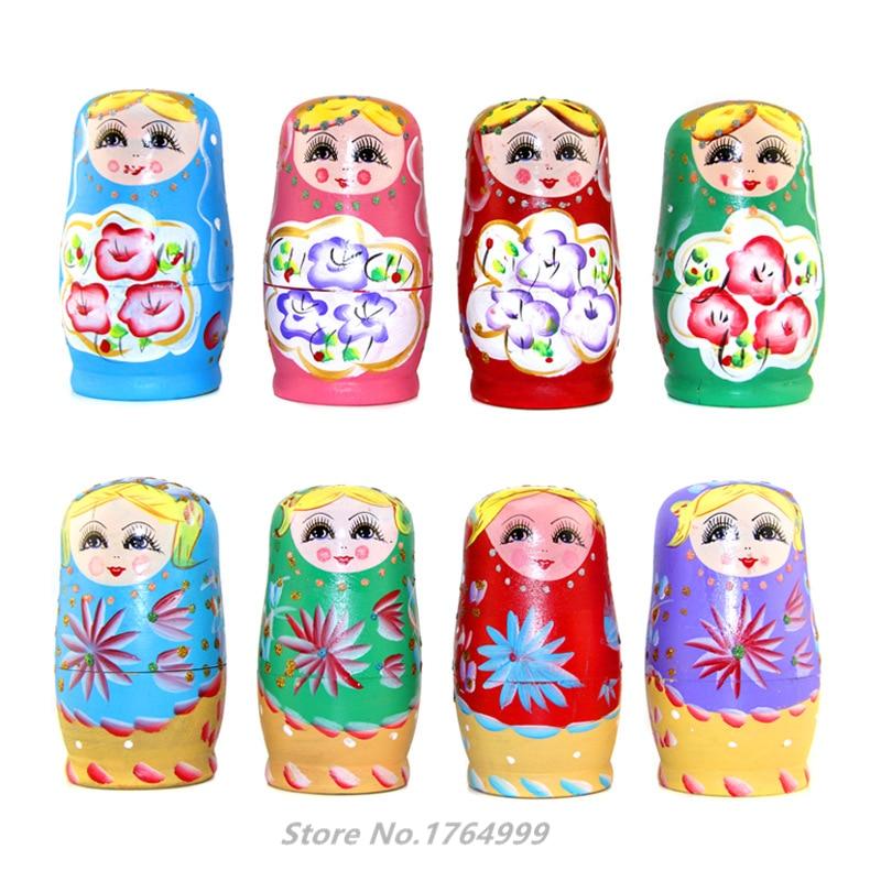 5pcs/SET Wooden Russian Nesting Dolls Braid Girl Russia Traditional Matryoshka Dolls Matrioska Toy Xmas Gift Juguetes