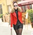 Женщины зимнее пальто 2017 осень и зиму одежду новый Тонкий женщины овец кожа короткие пальто енота меховым воротником кожаная куртка DM547