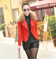 Women winter coat 2017 fall and winter clothes new Slim female sheep leather short coat raccoon fur collar leather jacket DM547