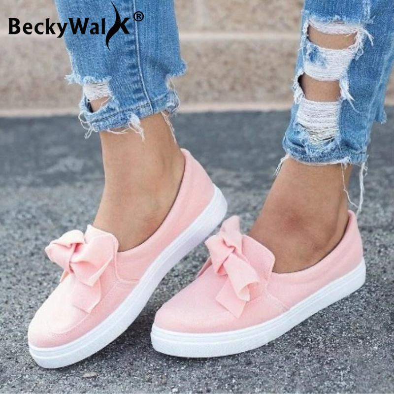 Casual Sneakers Women Comfortable Flock Spring Autumn Women Shoes Bowknot Female Loafers Slip On Woman Flats Shoes WSH3333