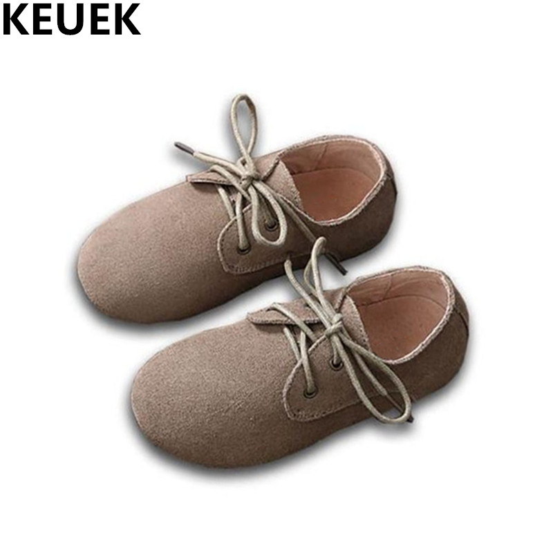 NEW Genuine Leather Shoes Boys Girls Flats Lace-Up Casual Child Shoes Kids Cowhide Sneak ...