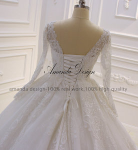 Image 5 - Amanda Design nikah elbisesi Full Sleeves Lace Appliqued Crystal Wedding Dress