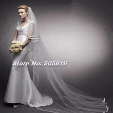 New Cathedral Length 2 Layer 70cm/300cm Ribbon Edge Wedding Bridal Veil with Comb 20151026-84