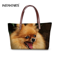 INSTANTARTS Cute 3D Spitz Dog Printed Women Large Capacity Handbags Brand Design Tote Shoulder Bags Ladies Travel Top Handle Bag