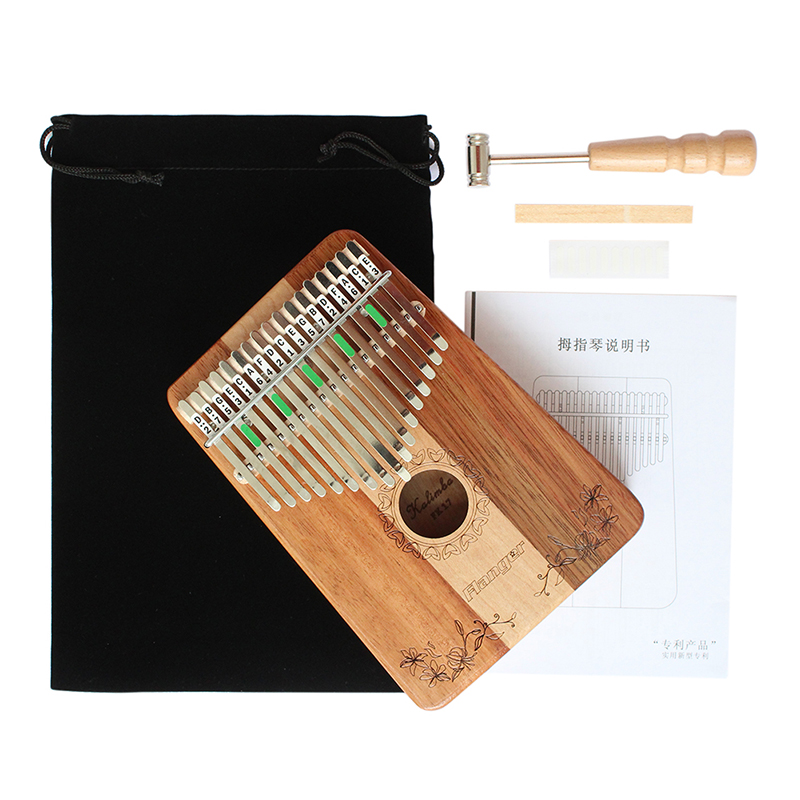 RomáNtico Flanger 17 Teclas De Madera De Caoba Kalimba Africano Mbira Pulgar Piano Dedo De Percusión Teclado Instrumentos Musicales Regalos Fk17