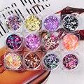 12 Colors/set 1/2/3mm Mixed Colorful Ultrathin Sequins Nail Art Decoration Manicure DIY Decor