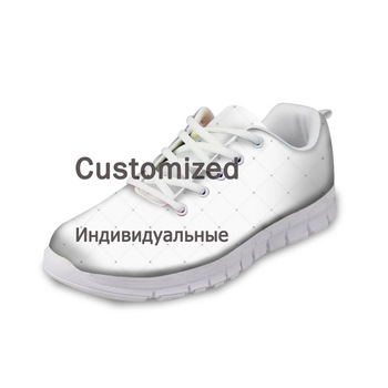 ELVISWORD Customize Women Flats Logo Pattern Printing Free Cost Wholesale Drop Shipping Nurse Shoes Sneakers Lace Up