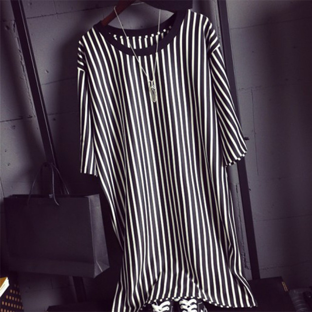 338081195c 2015 Summer Women Crew Neck Short Sleeve Black And White Vertical Striped T  Shirt Dress Ladies Simple Casual Dress