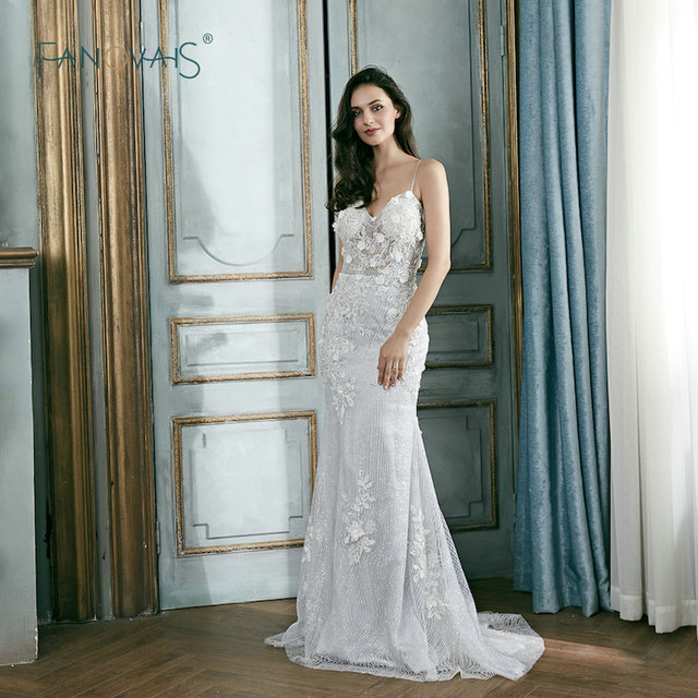 Glitter Silver Gray Evening Dresses Spaghetti Straps Evening Gowns 3D Flowers Shinning Prom Party Gowns Long Vestida De Festa