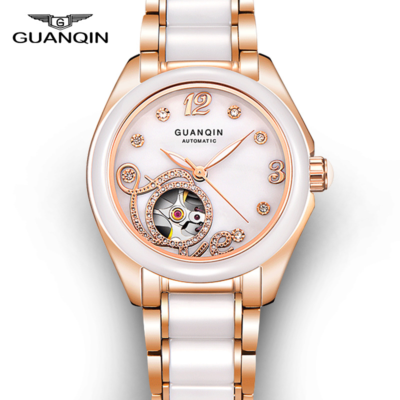 Top Brand GUANQIN 2016 New Watch Women Fashion Hollow Mechanical Watches With Ceramic Band And Rhinestone Case relogio feminino guanqin ceramic women watch automatic mechanical watches hollow waterproof watch ceramic watch strap rhinestone shell pattern
