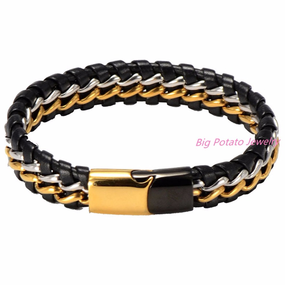 Mens Boys Trendy Genuine Black Braided Leather Gold Stainless Steel Button Curb Chain Bracelet Jewelry Free Shipping