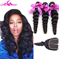 Malaysian Loose Wave with Closure 4 Bundles with Closure Unprocessed Human Hair Weave 7A Malaysian Virgin Hair With Closure