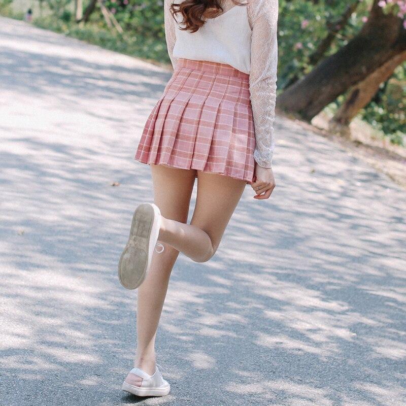 A-line Plaid pleated փեշ Միասնական բարձր իրան - Կանացի հագուստ - Լուսանկար 5