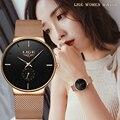 LIGE Novo Mulheres Moda Relógio Criativo Senhora Casual Relógios de Aço Inoxidável Banda Malha Elegante Desgin Luxo Relógio de Quartzo Para As Mulheres