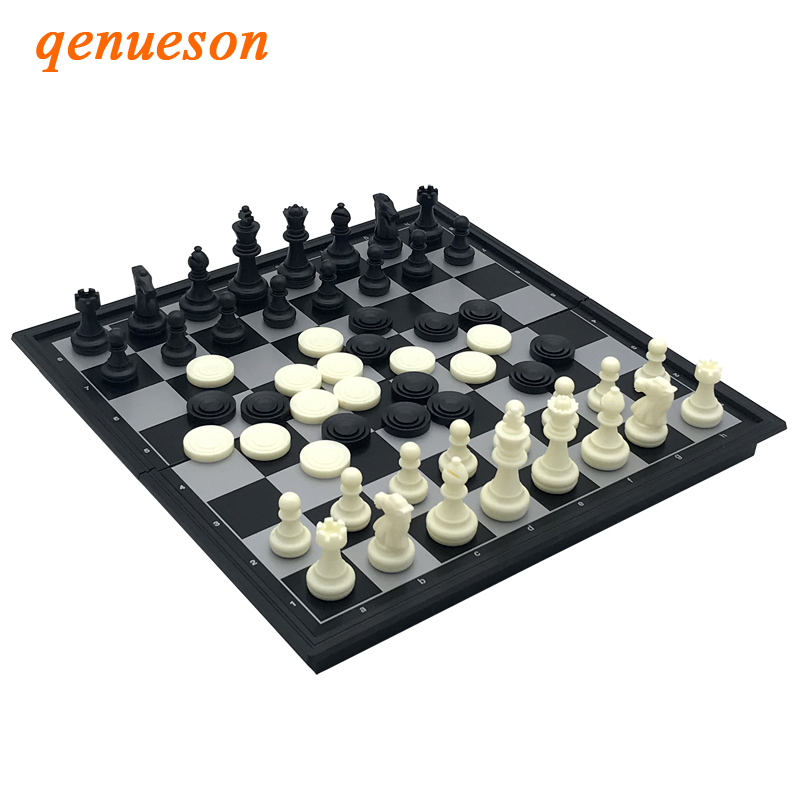 High Quality Travel Games International Chess Folding Magnetic Board Indoor Games Vintage Foldable Magnetic Pieces Gift qenueson in Chess Sets from Sports Entertainment