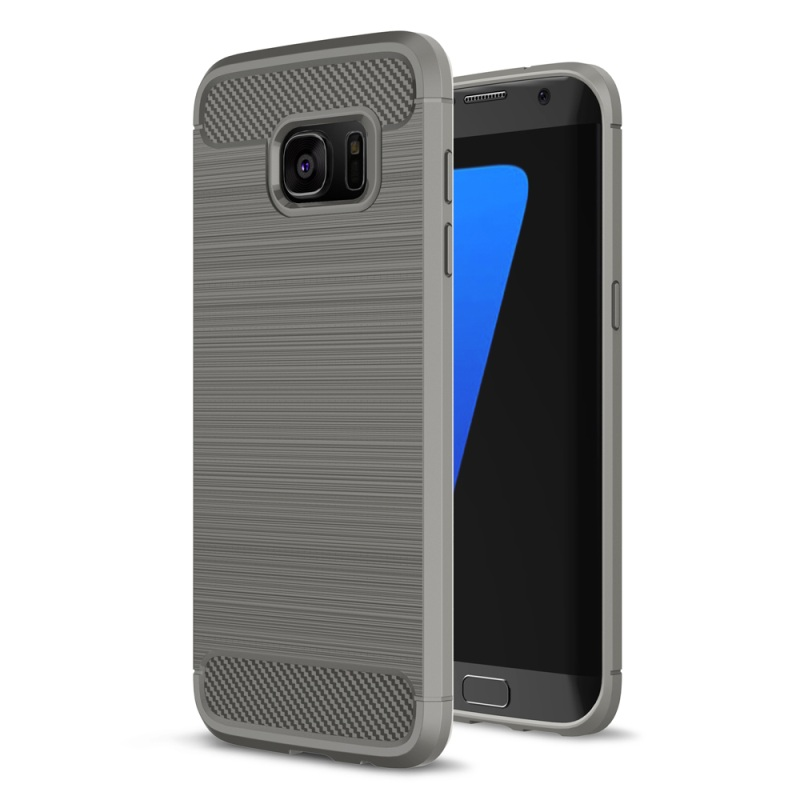 For Galaxy S 7 edge TPU Cover Bag Carbon Fibre Brushed TPU Shell Phone Case for Samsung Galaxy S7 edge SM-G935 - Grey