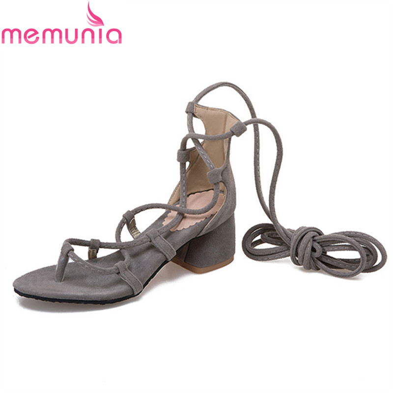 цены MEMUNIA new arrive flock women high heels sandals fashion summer shoes lace up hot sale big size 34-43