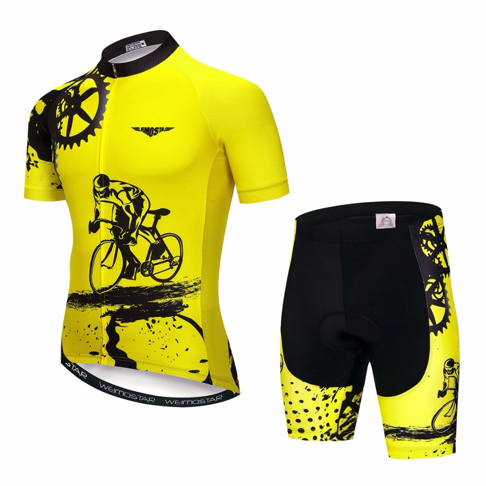 Yellow Men Cycling Jersey Bib shorts Sets Bike Clothing Suits Bicycle Top Bottom Pro Cycling Wear Shirts mtb Clothes 2018 RED in Cycling Sets from Sports Entertainment