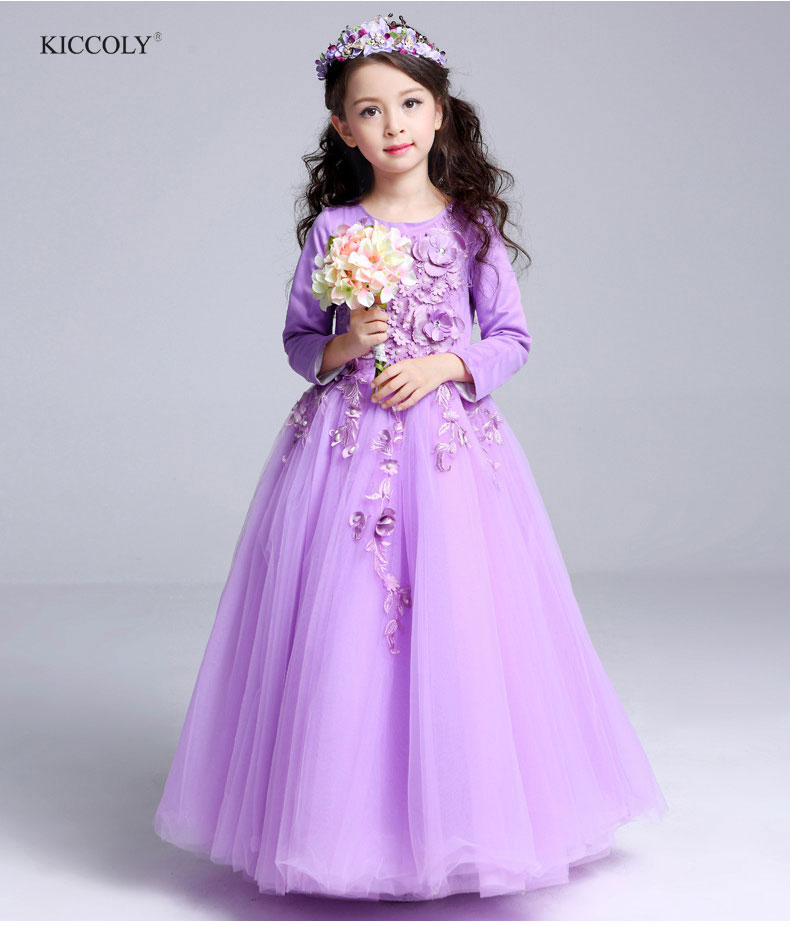2018 Spring Autumn Kids Girls Embroidered Beaded Flower Formal Party Ball Gown Prom Princess Wedding Children Tutu Dress 3-14Y цены онлайн