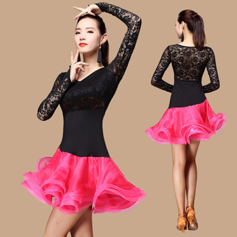 Women Lace Latin Dress Elegant Sexy Tango Dress Ballroom Salsa dance dresses