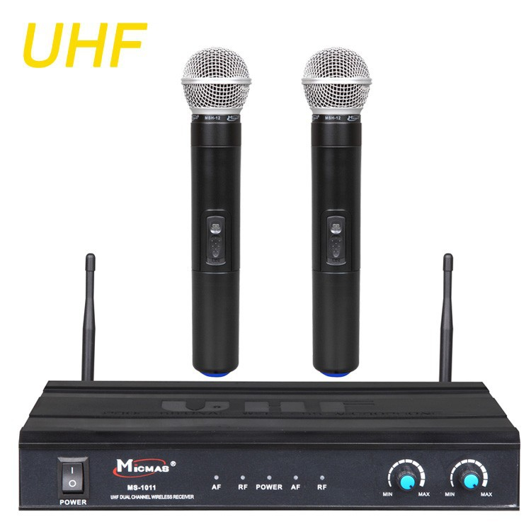UHF Wireless Microphone System Excellent Professional Dual Channels Handheld Microfone for Stage Performance Club Party MS-1011 boya by whm8 professional 48 uhf microphone dual channels wireless handheld mic system lcd display for karaoke party liveshow