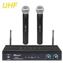 UHF Sistema de Micrófono Inalámbrico Profesional Excelente Canales Duales de Mano Microfone para Funcionamiento de la Etapa Del Club Del Partido MS-1011
