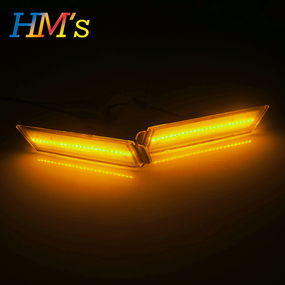 (Front) For Chevy Camaro 2010 2011 2012 2013 2014 2015 Car Front Amber Rear Red Side Marker Lamps Turn Signals SMD LED Light (3)
