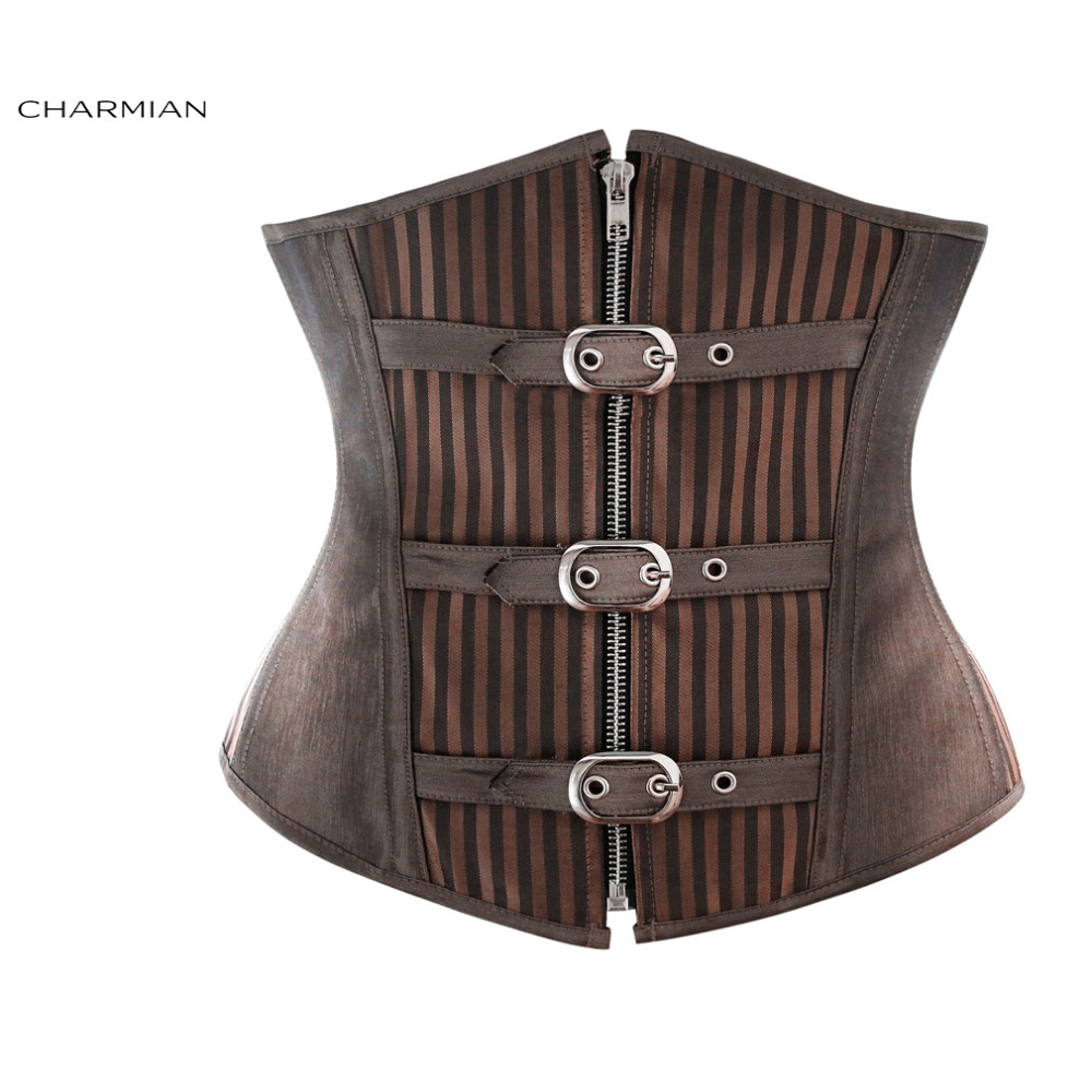 Charmian Women's Gothic Steampunk Corset Striped Zipper Spiral Steel Boned Underbust Corset with Buckles Corselet