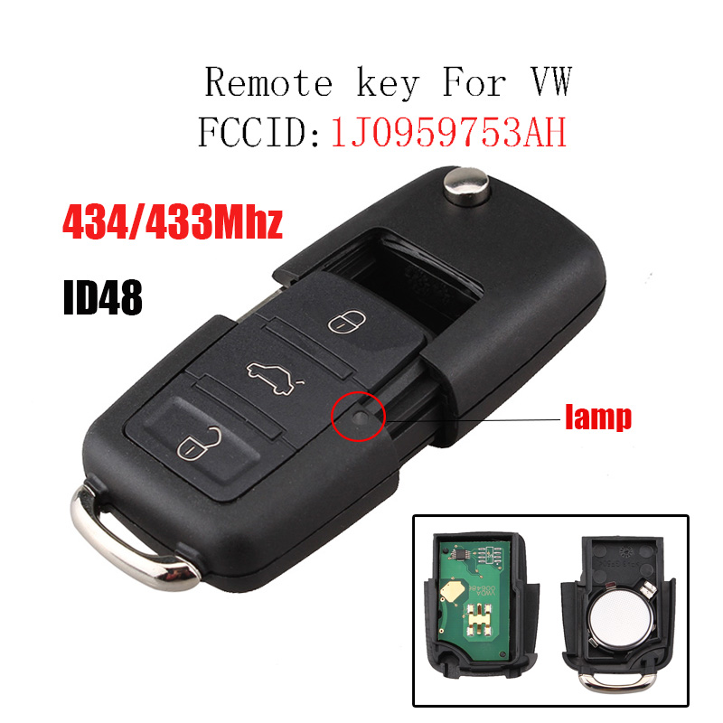 Remote Key for VW Volkswagen Passat Bora Golf Polo Beetle SKODA Fabia Superb Roomster Car Key For Seat 1J0 959 753 AH