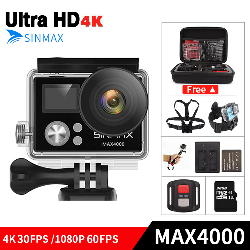 Ultra HD 4K wifi action camera 4k/30fps 1080p/60fps 2.0 LCD go waterproof sj ek en pro camcorder with remote control&camera bag action camera h3 4k ultra hd wifi 1080p go sj pro style with h3r remote control waterproof dual screen sport camera