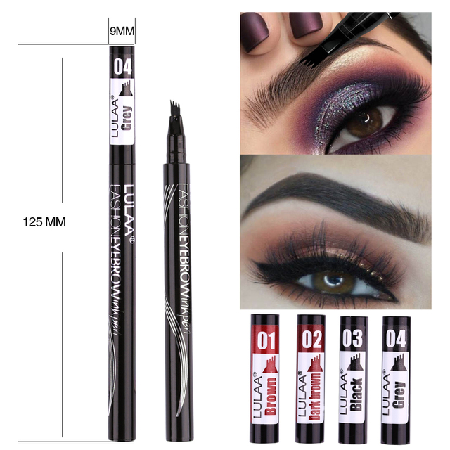 LULAA 4Color Liquid Eyebrow Enhancer Eyebrow Tattoo Pen Sketch Waterproof Eyebrow Pencil 4 Head Long-lasting Eye Makeup 3