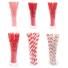 25pcs/lot Paper drinking straws Disposable tableware Red Happy birthday wedding decorations party supplies favor girl's party(China)