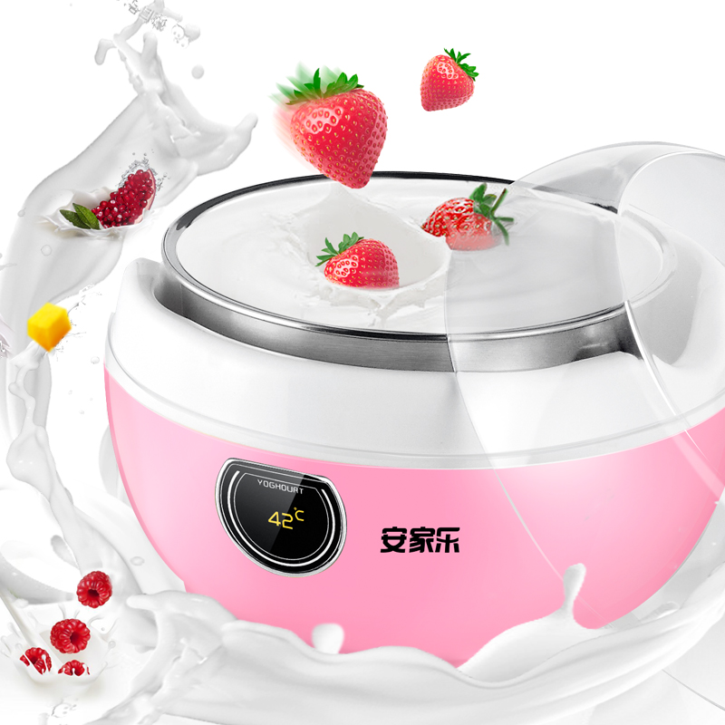 AJL-1610C Automatic Intelligent Yogurt Makers 1.0L Household Natto Wine Yogurt Machine with Stainless Steel Liner Glass Sub-cup purple yogurt makers rice wine natto machine household fully automatic yogurt glass sub cup liner multifunctional kitchen helper