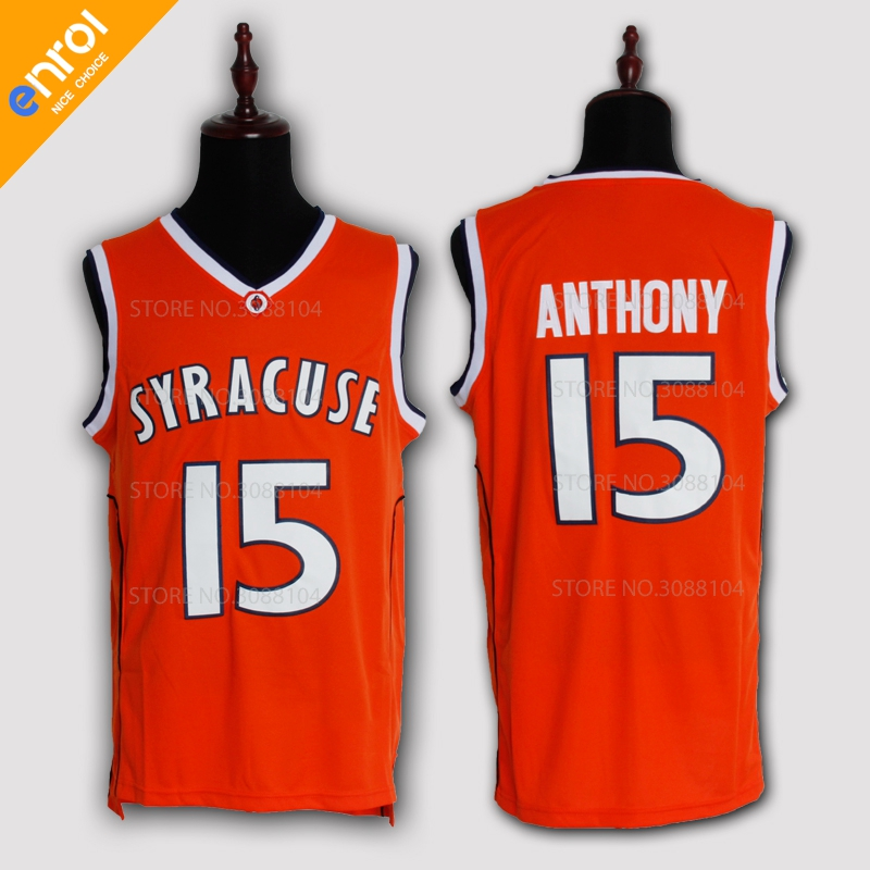 Cheap Retro Carmelo Anthony Basketball Jerseys 15# Syracuse University Throwback Knitted Embroidery High Quality Shirts For Men ...