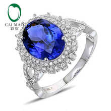 CaiMao 18KT/750 White Gold 3.53 ct Natural IF Blue Tanzanite AAA 0.61 ct Full Cut Diamond Engagement Gemstone Ring Jewelry