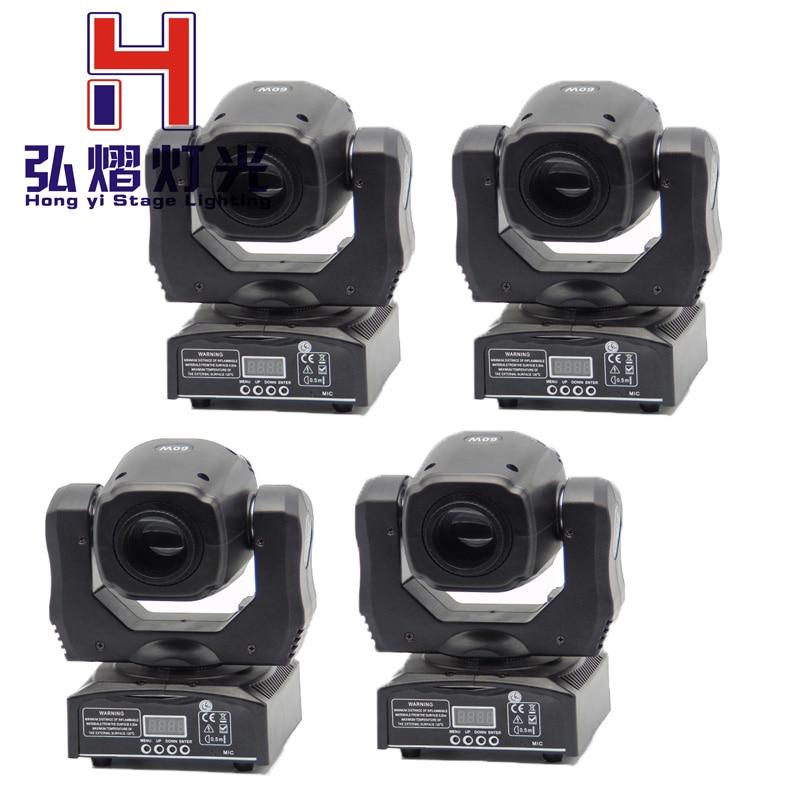2016 новое поступление 4 шт./лот Китай dj оборудование светодио дный светодиодный мини 60 Вт луч перемещение головы пятно света двойной гобо кол...