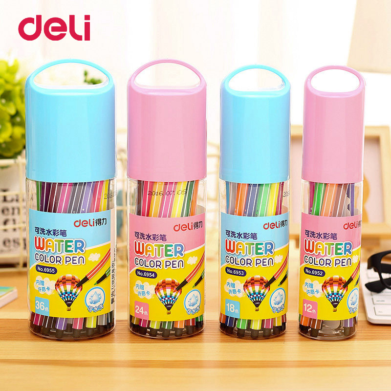 купить Deli 1Set 12/18/24/36 Colors Washable Watercolor Marker Painting Pen For School Children Kids Art Educational Toys Drawing Toys недорого