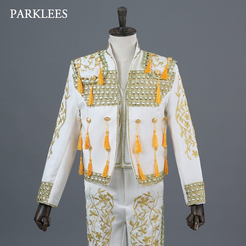 Europe Court 3 Piece Suit Men Gold Embroidery Tassel Mens White Bullfighter Costumes Blazer Jacket Stage Show Dance Suits Hombre