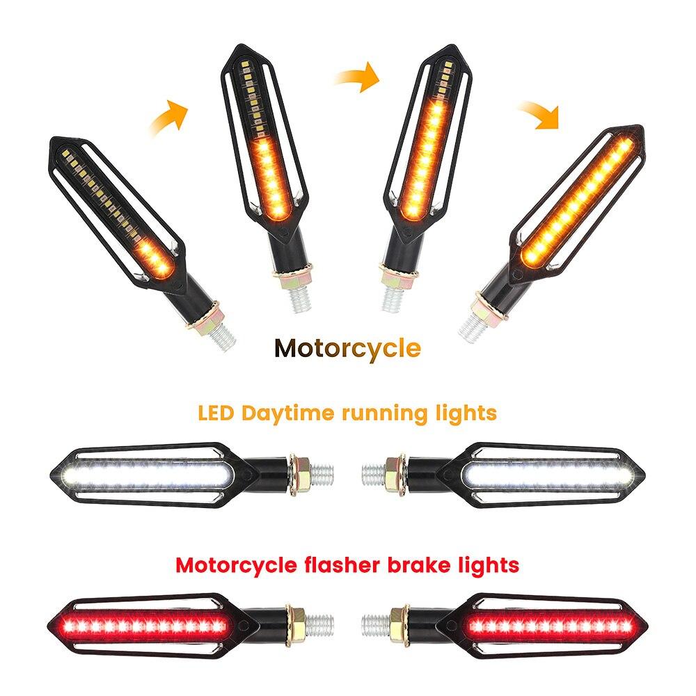 4 Pcs LED Motorcycle Turn Signal Lights Flowing Water Indicator Lighting White DRL Indicators Blinkers Flickerred Brake Lamp